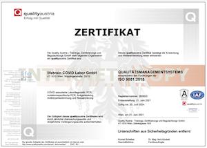 Zertifizierung des Qualitätsmanagementsystems nach der EN ISO 9001:2015